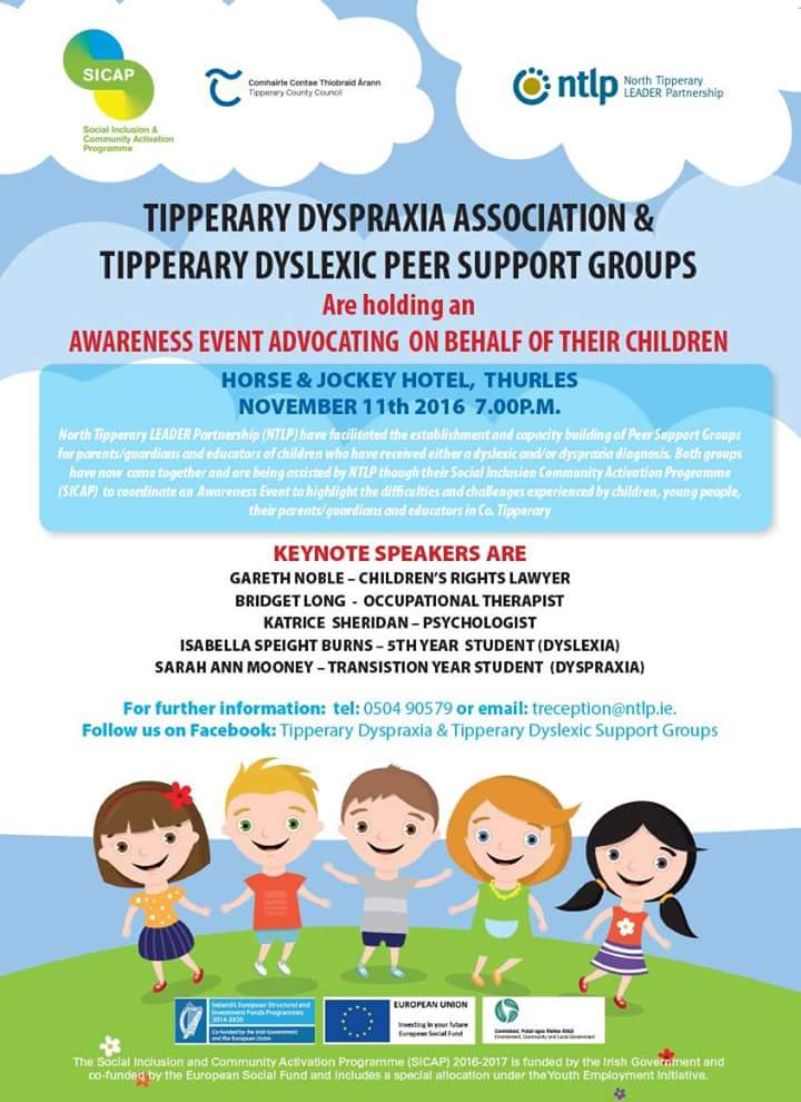 Tipperary Dyspraxia & Dyslexic Groups Awareness Event Tonight In The Horse And Jockey Hotel