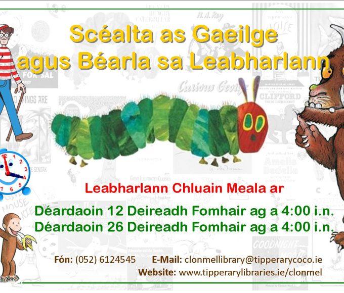 Scéalta As Gaeilge Agus Béarla I Leabharlann Chluain Meala
