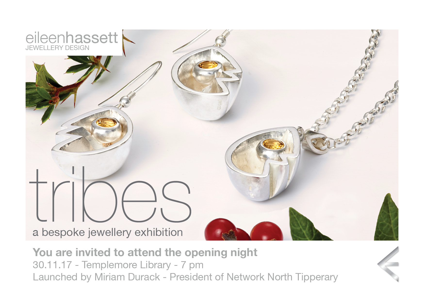A Bespoke Jewellery Exhibition by Eileen Hassett opening night – Templemore Library – 30th Nov. @ 7pm