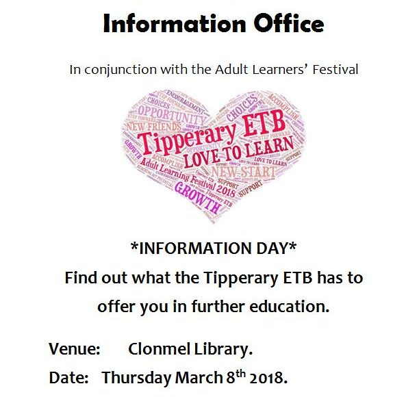 Tipperary Education And Training Board Information Day At Clonmel Library