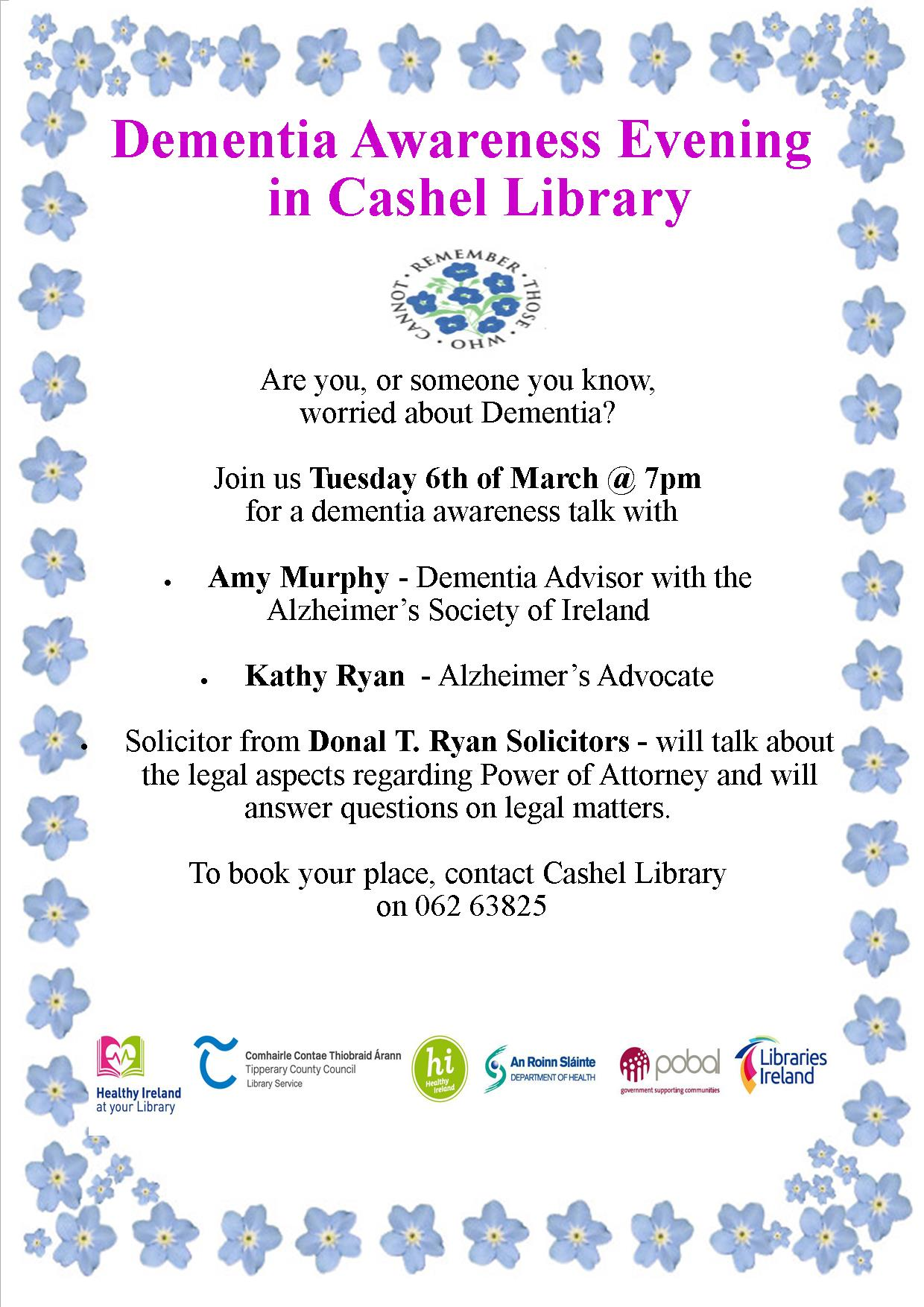 Dementia Awareness Evening in Cashel Library