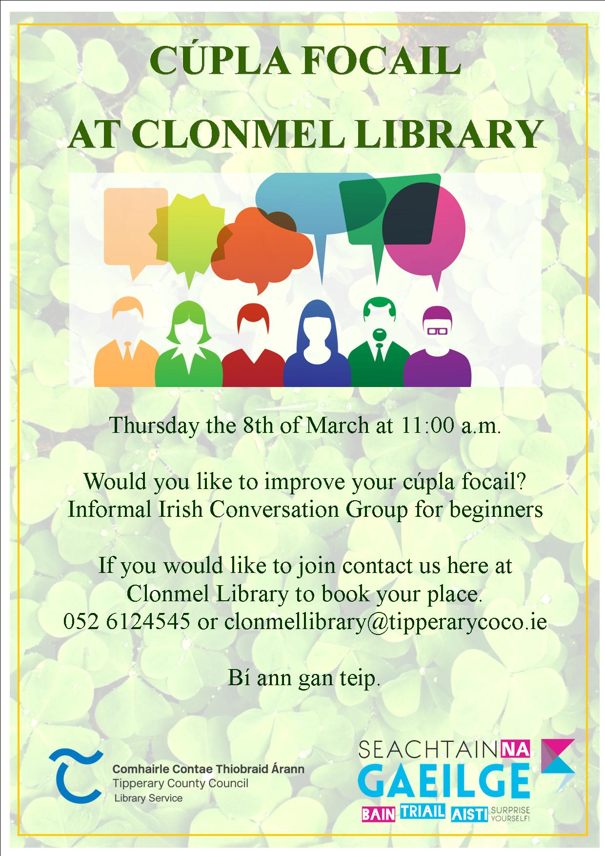 **Change Of Date** Cúpla Focail At Clonmel Library