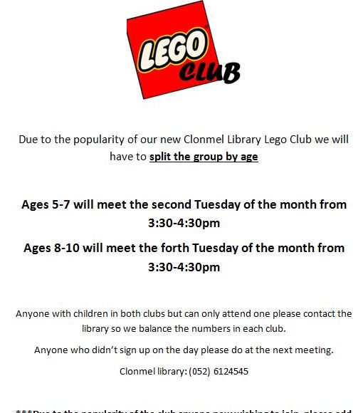 Lego Club Update From Clonmel Library