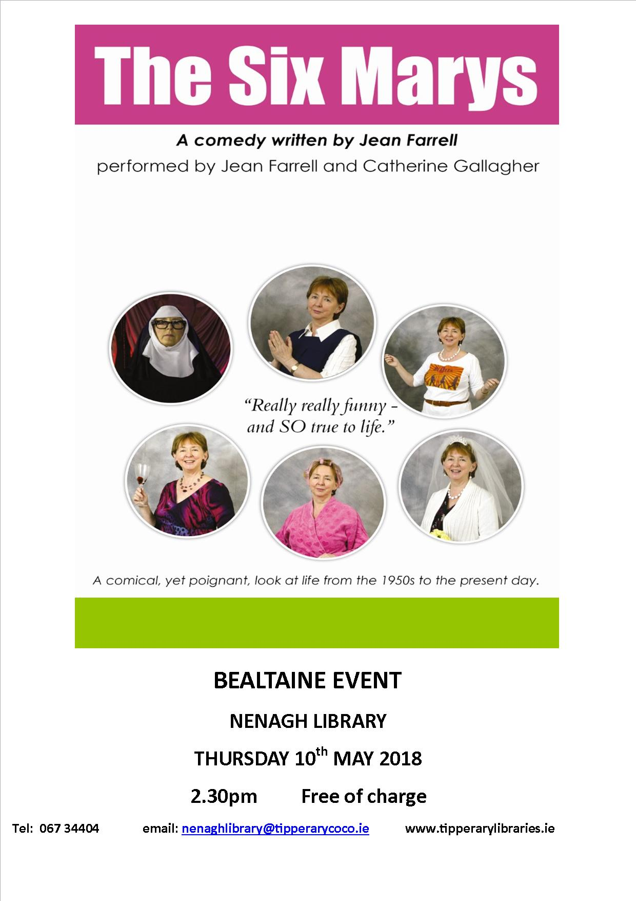 """Nenagh Library Presents """"The Six Marys"""" A Comedy: Bealtaine Event"""