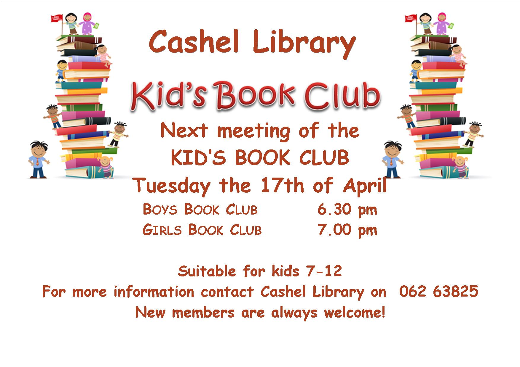 Cashel: Next meeting of Kids Book Clubs