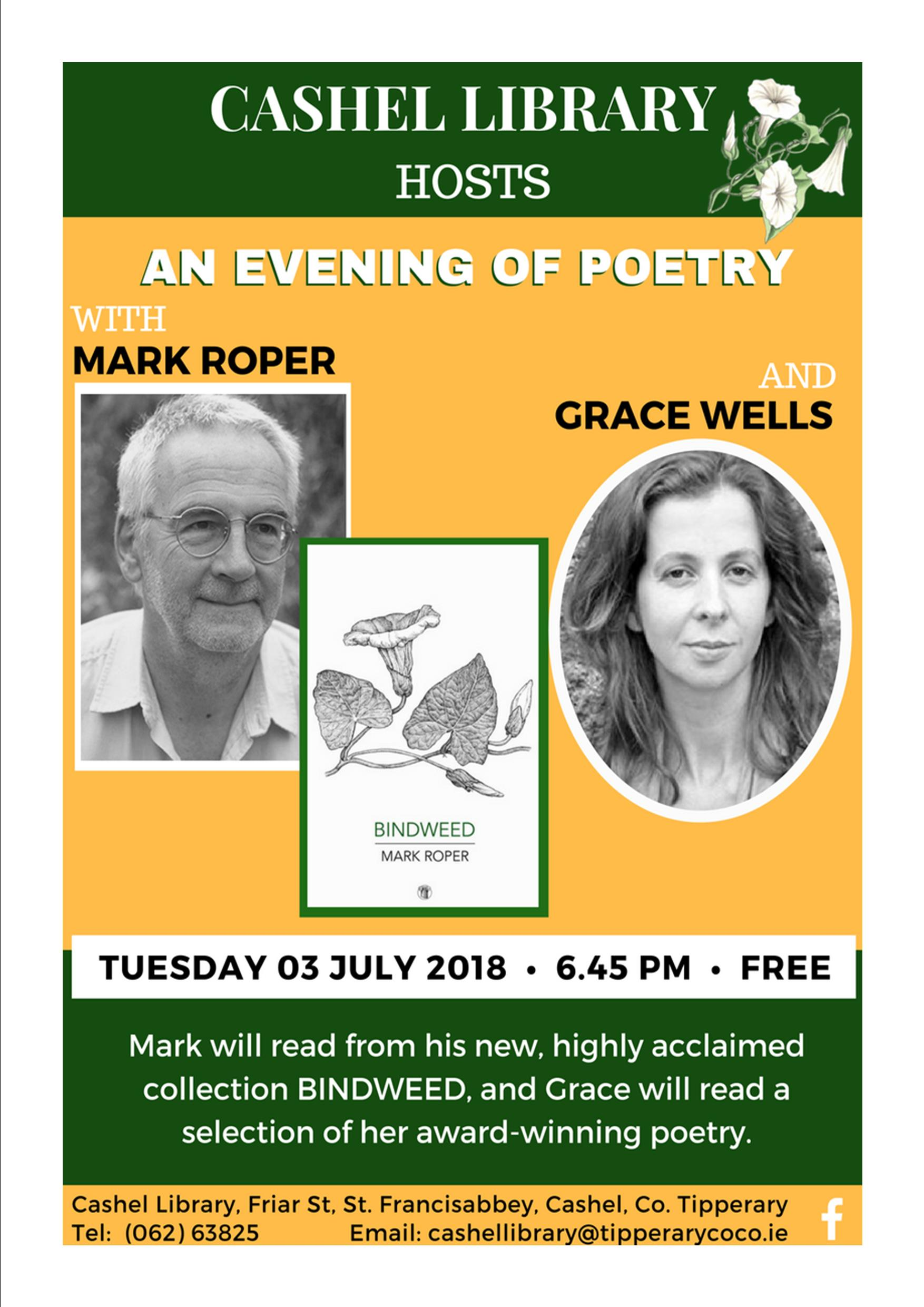 Evening of Poetry in Cashel Library, July 3rd at 6:45pm