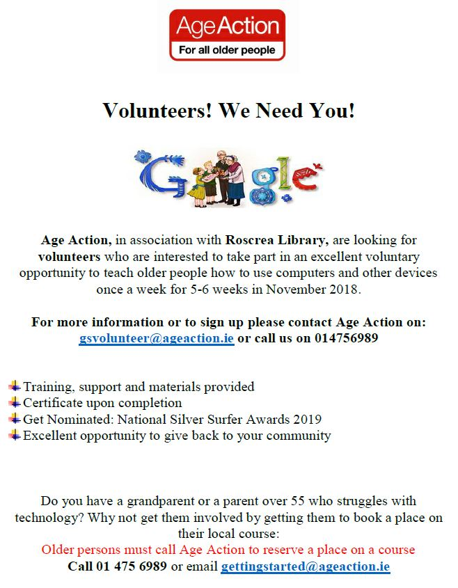 Age Action looking for Volunteers for computer course in Roscrea Library