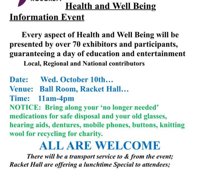 Age Friendly Roscrea Wednesday October 10th, 11am – 4pm