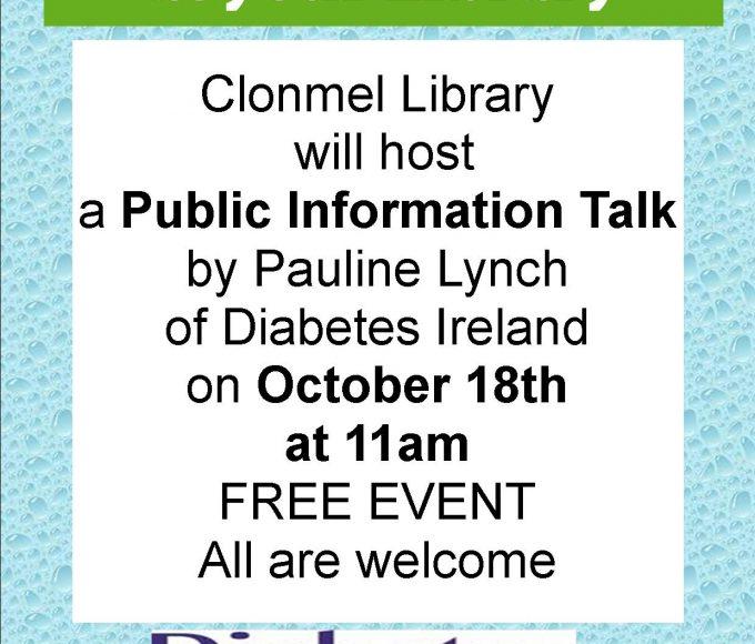 Public Information Talk By Pauline Lynch Of Diabetes Ireland At Clonmel Library
