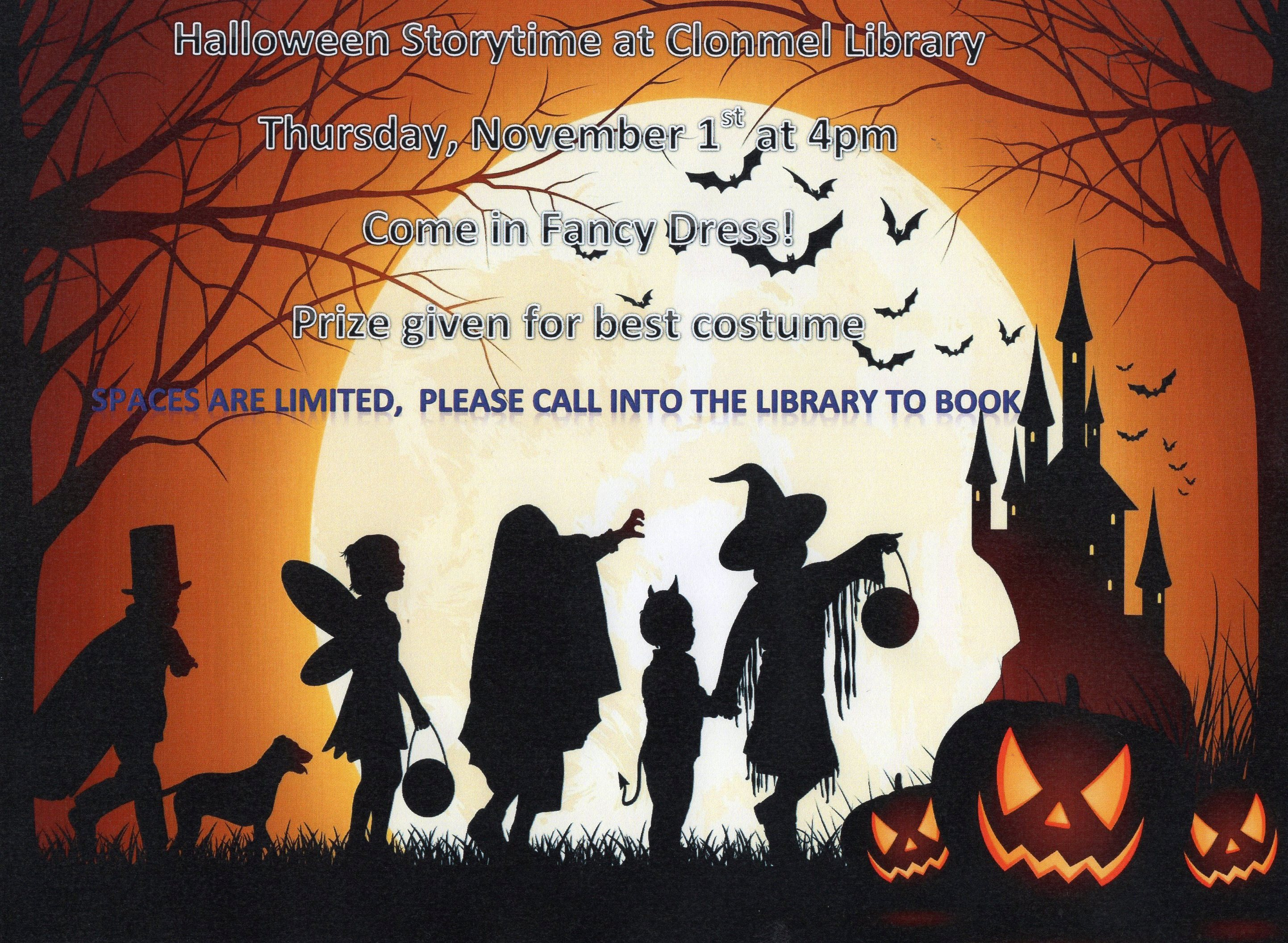 Halloween 1 November.Halloween Story Time At Clonmel Library Tipperary Library