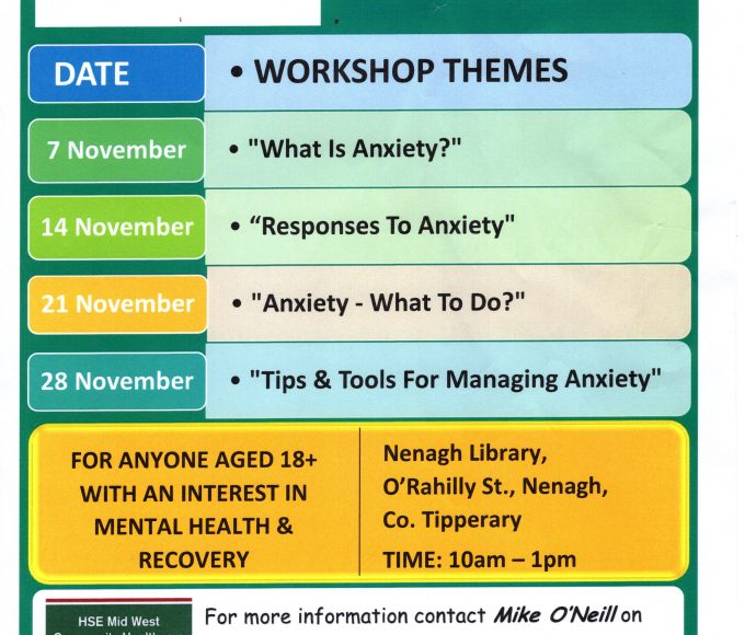 """Living Well With Anxiety"": Free Workshops In Nenagh Library"