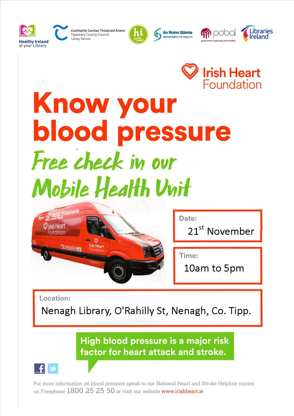 Free Blood Pressure Check: Nenagh Library