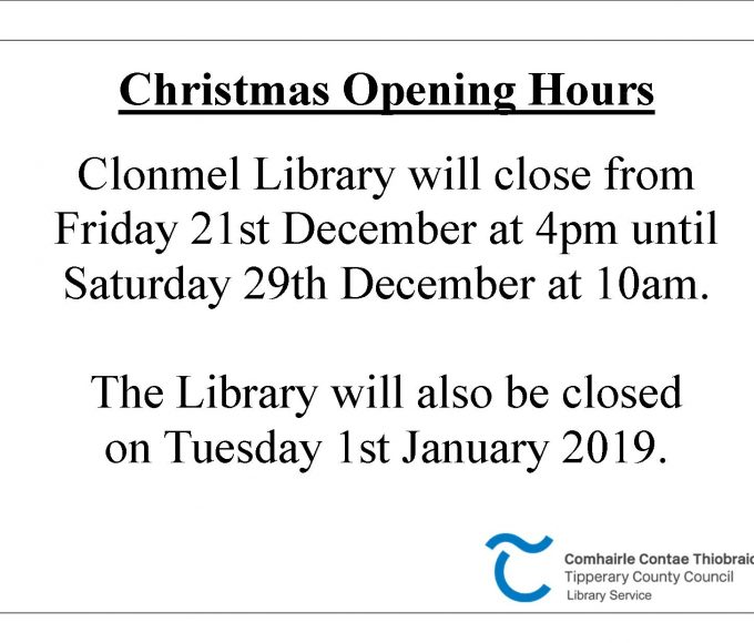 Clonmel Library Christmas And New Year Opening Hours