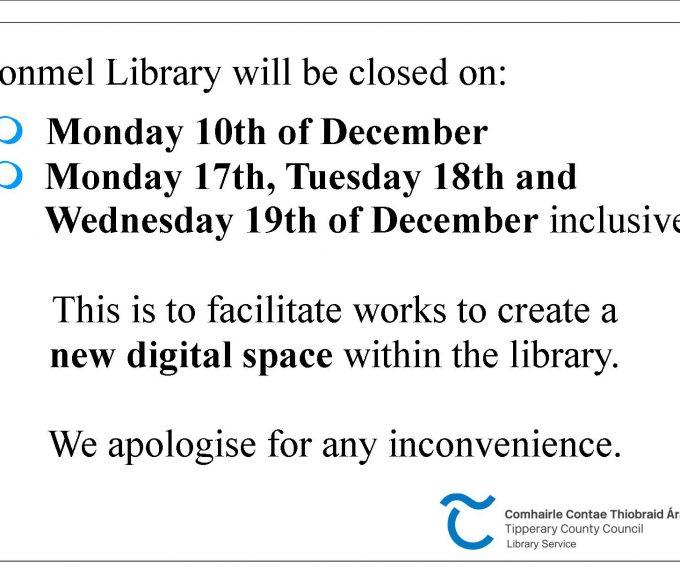 Clonmel Library: Upcoming Closure