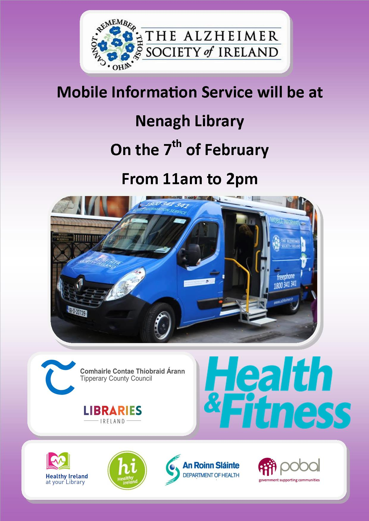 Alzheimer Society's Mobile Unit At Nenagh Library February 7th