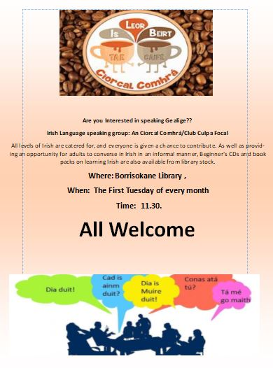 Irish Language Speaking Group, The First Tuesday Of Every Month In Borrisokane Library