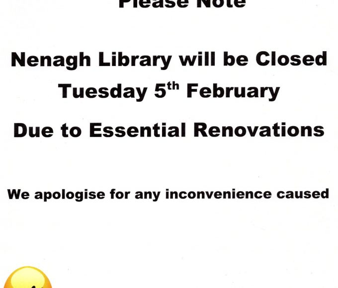 Nenagh Library Closed 5th February For 1 Day