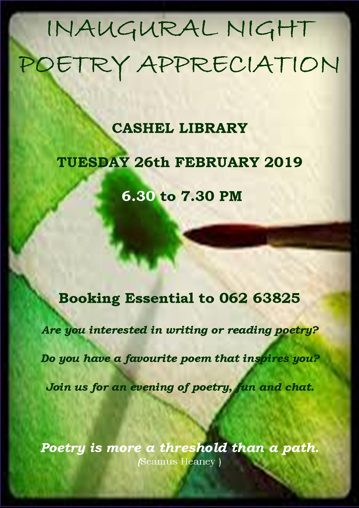 Poetry Appreciation Night in Cashel Library