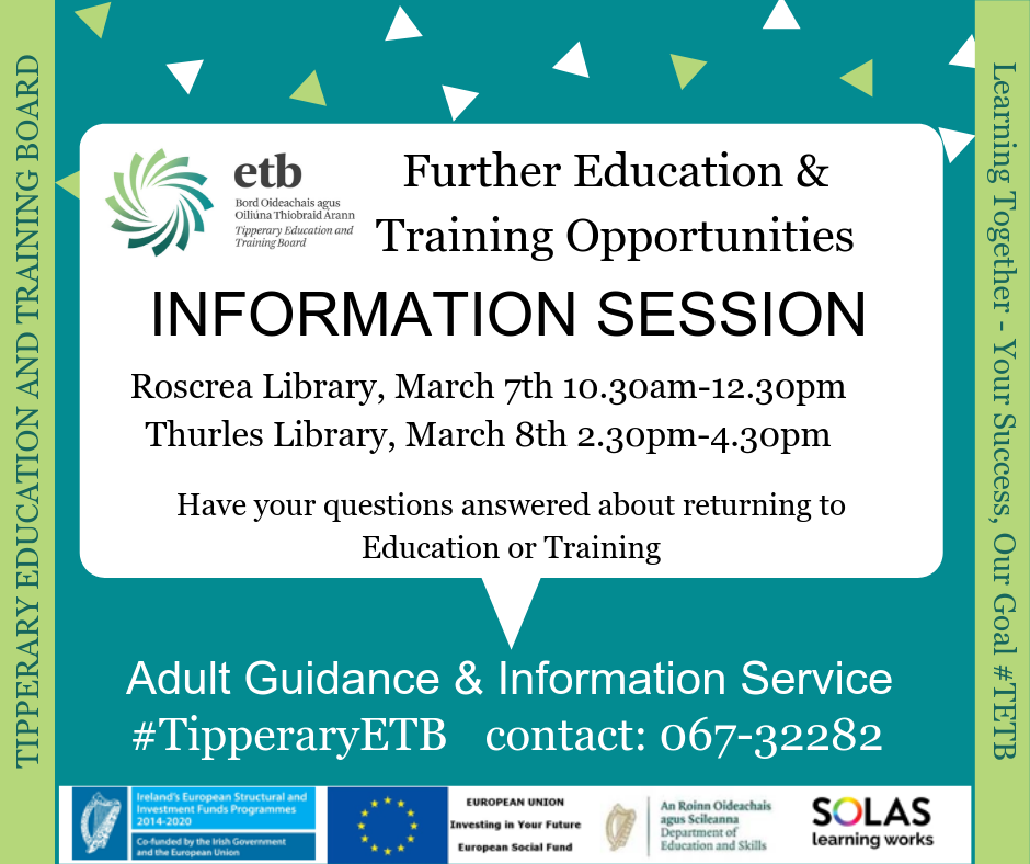Further Education And Training Opportunities Information Session, Roscrea Library , March 7th