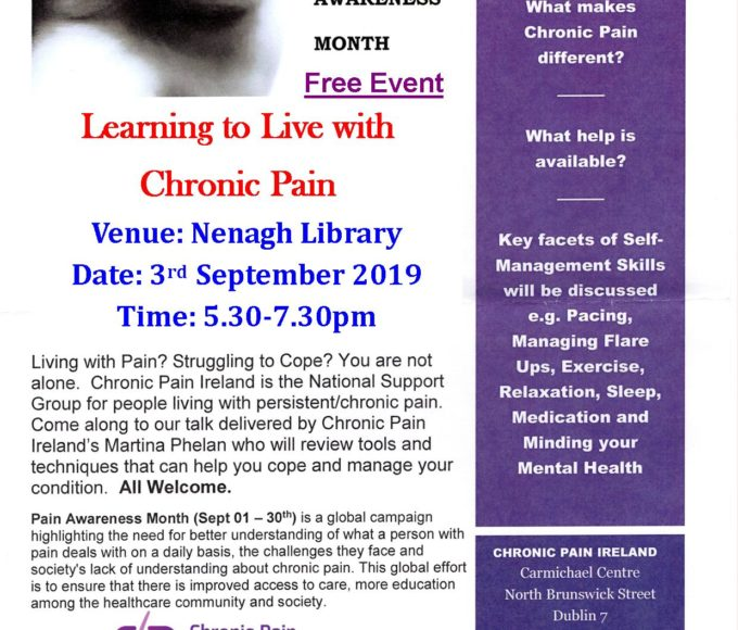 LEARNING TO LIVE WITH CHRONIC PAIN : Talk In Nenagh Library