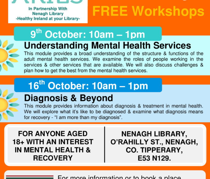 Mental Health Recovery & Well-being FREE Workshops: Nenagh Library