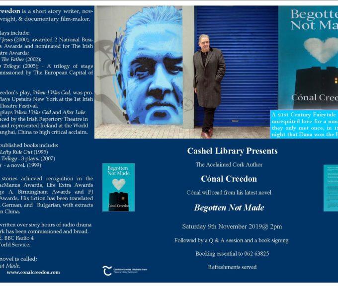 Cashel: Cónal Creedon Visit November 9th At 2pm