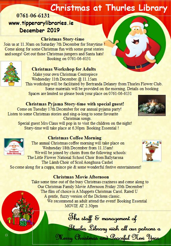 Christmas Events At Thurles Library Open For Booking!