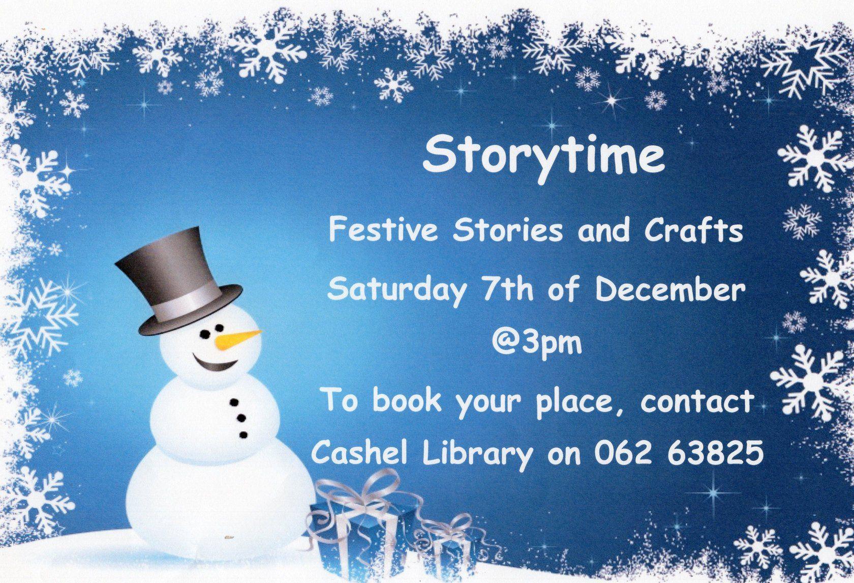 Cashel: Festive Storytime December 7th At 3pm