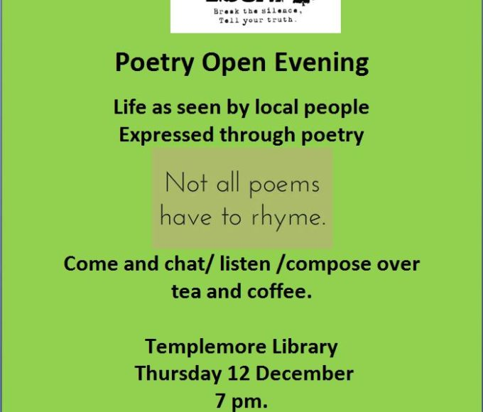 Templemore Library – Poetry Opening Evening – Thursday 12th December @ 7pm