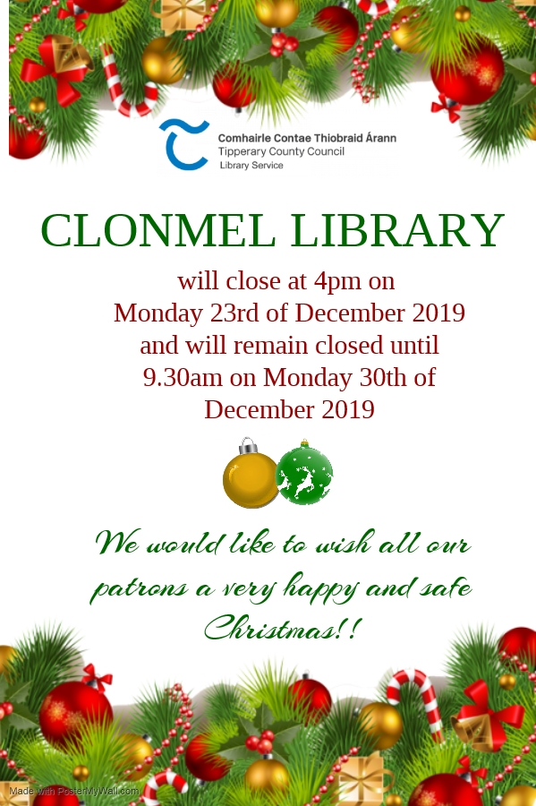 Clonmel Library: Christmas Closing Information