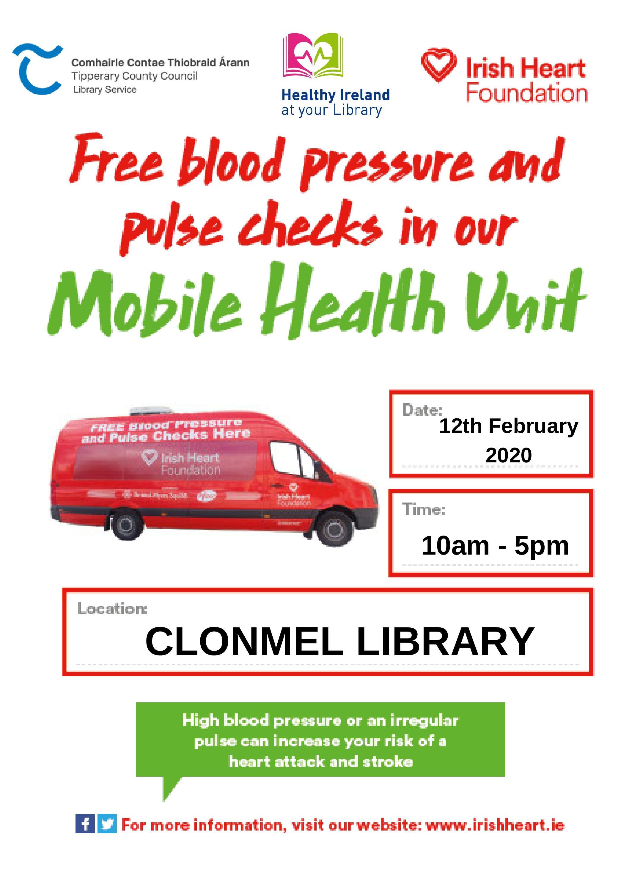 Clonmel Library: Free Blood Pressure & Pulse Checks