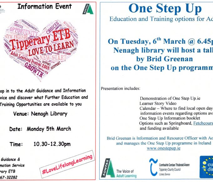 Tipperary ETB Adult Guidance  And Aontas In Nenagh Library