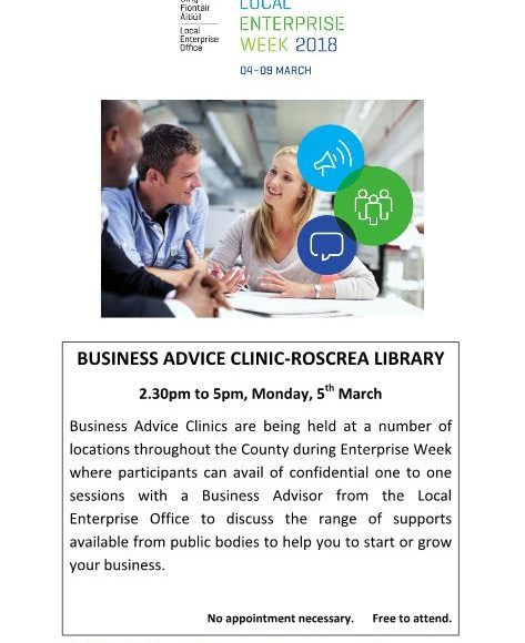 Business Advice Clinic In Roscrea Library Monday March 5th 2.30 -5 Pm
