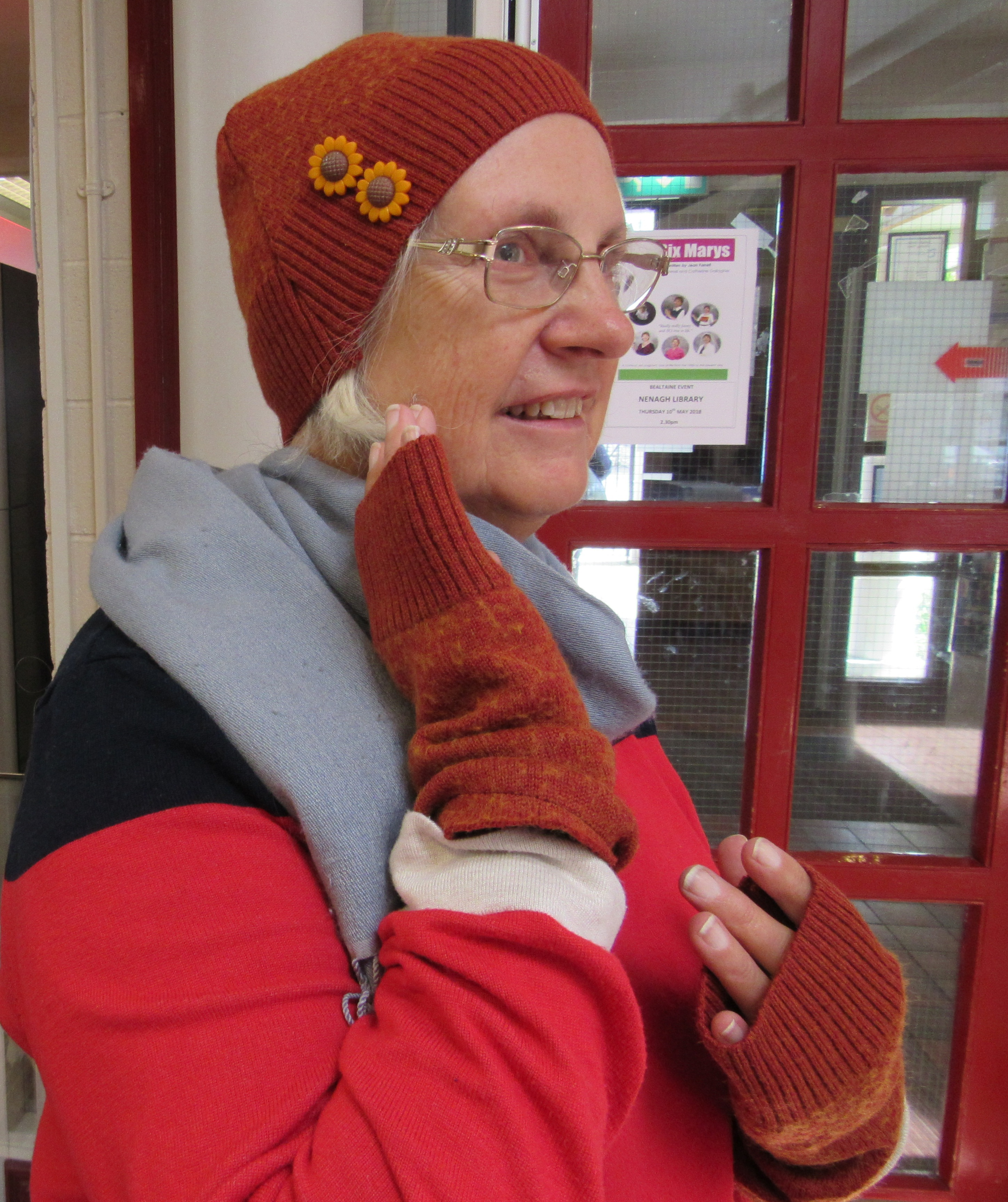 Breda Kennedy Looking Good In Her Upcycled Hat And Gloves!