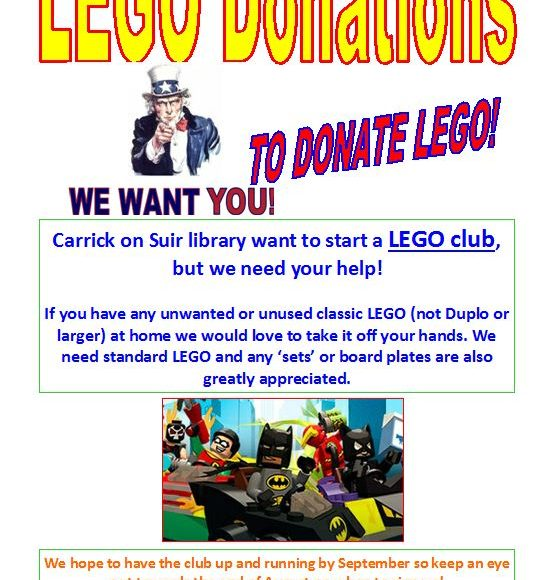 Carrick On Suir Library Needs Your Help To Start A LEGO Club!