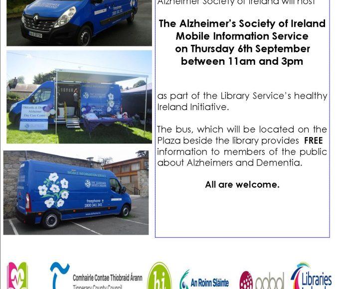 The Alzheimer's Society Of Ireland Mobile Information Service Bus Visits Cashel Library Thursday 6th September