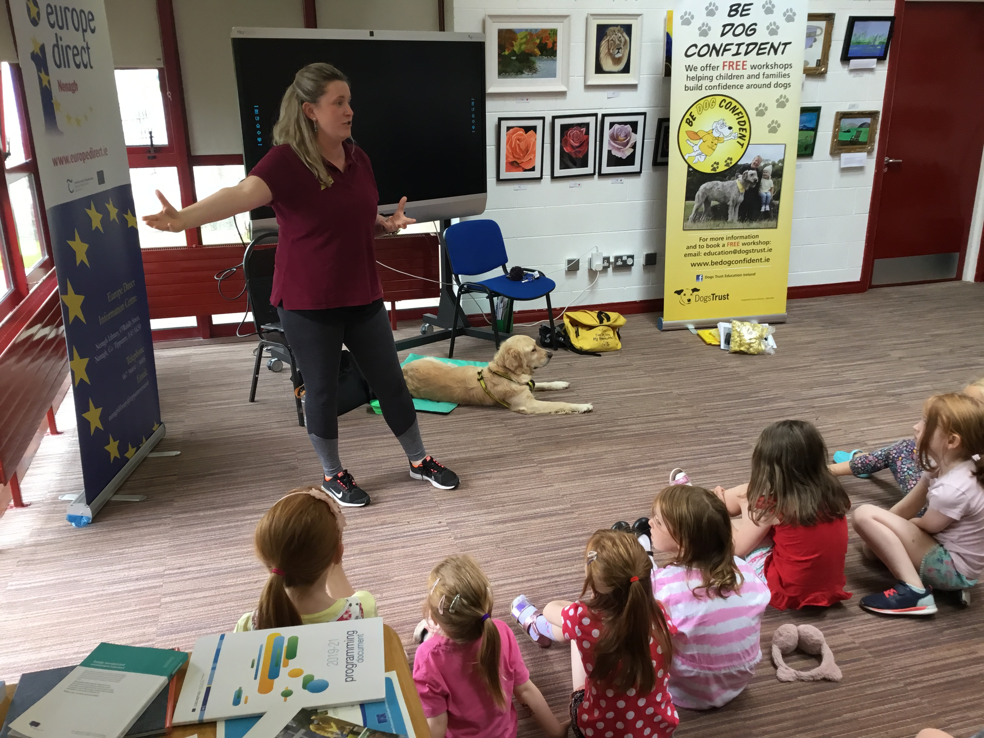 Maeve And Penny From Dogs Trust Ireland In Nenagh Library