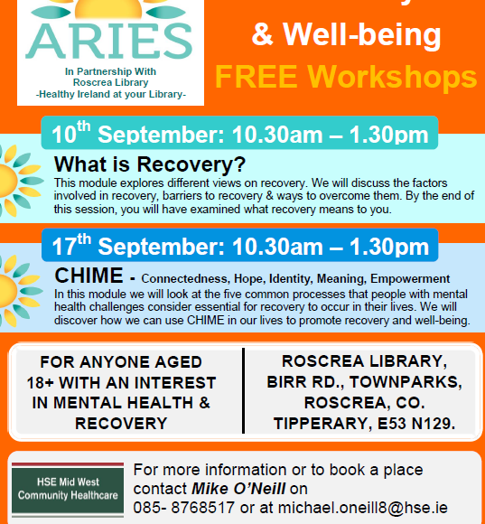 Mental Health Recovery And Wellbeing Workshops In Roscrea Library