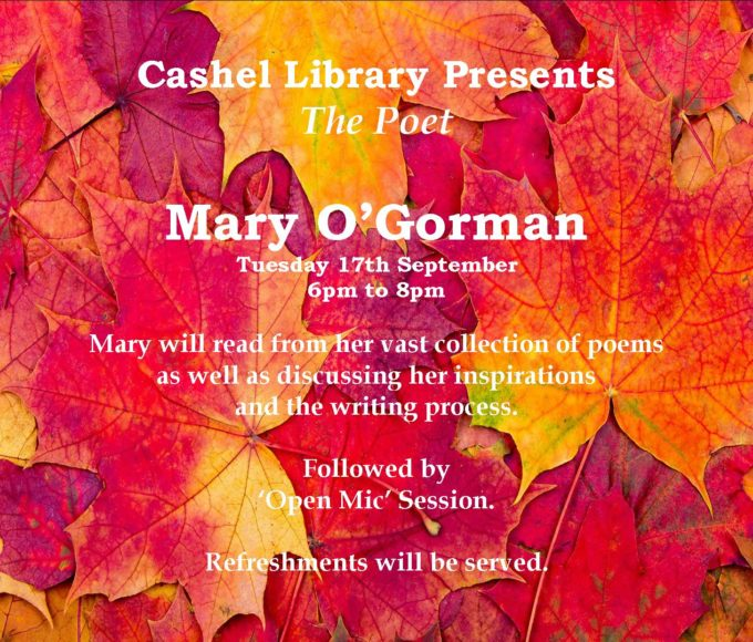 Cashel: Poetry Evening September 17th