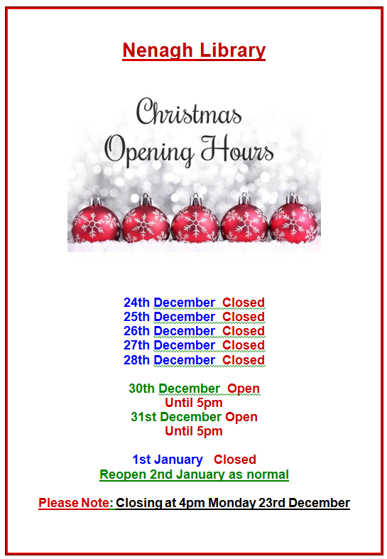 Nenagh Library's Opening Hours For Christmas And New Year