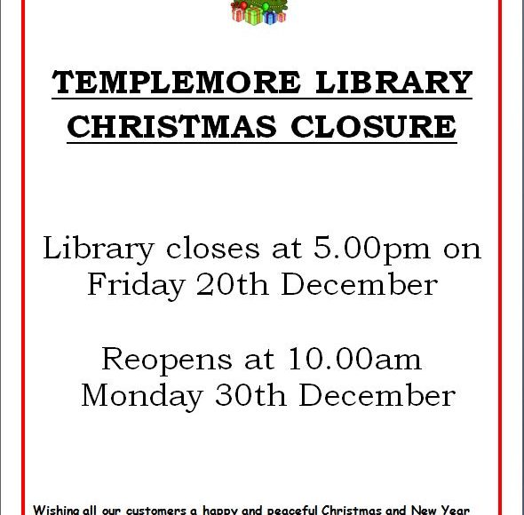 Templemore Library Christmas Closing