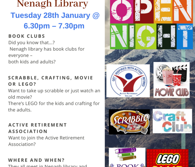 Let's Go Clubbing In Nenagh Library: Tuesday January 28th At 6.30pm