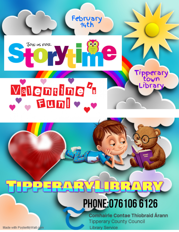 Tipperary Town: Valentine Storytime & Craft- Tipperary Town Library Friday 14th February @10.30a.m