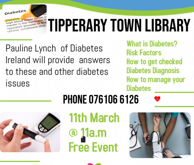 Tipperary Town Library; Upcoming Free Healthy Ireland Event. Duck The Highs, Duck The Lows, Duck The Diabetes- Join Us For This Event And Raise Your Awareness #HealthyIrelandatyourlibrary