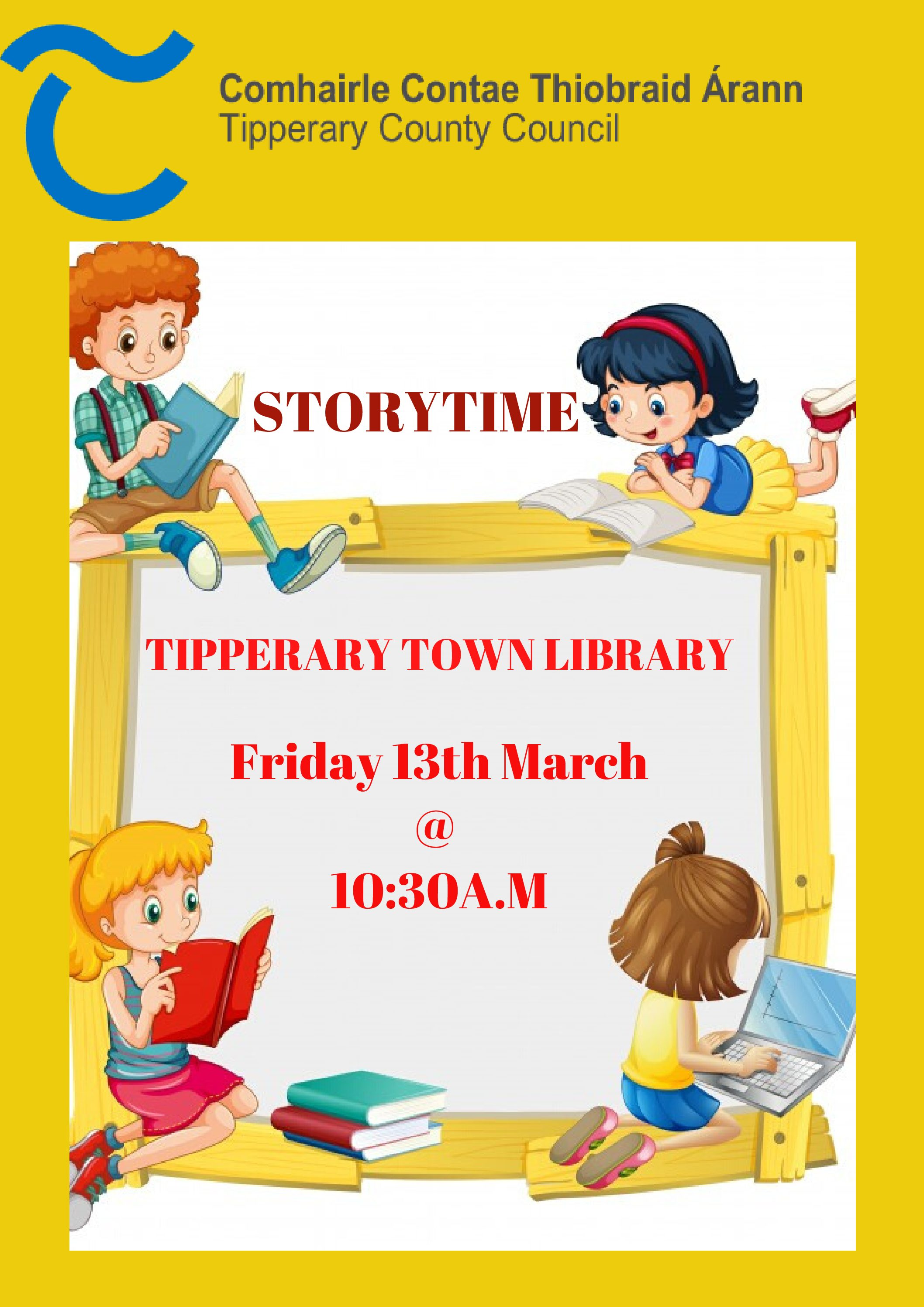 Tipperary Town Library Storytime @ 10.30a.m Friday13th March