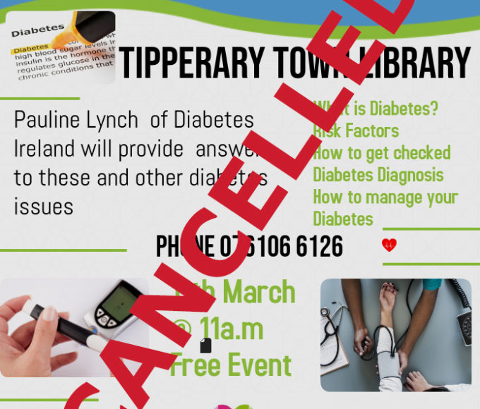 CANCELLED: Information Workshop On Diabetes In Tipperary Town Library