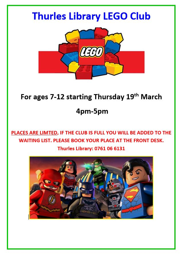 Thurles Library LEGO Club. Thurs. 19 March, 4pm