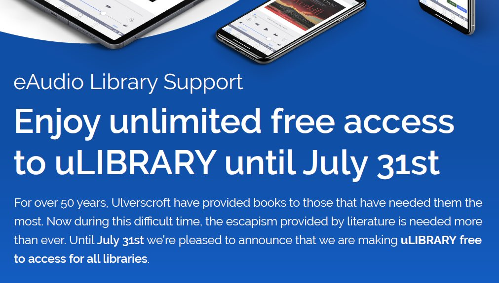 Access FREE Audio Books From Ulverscroft Until July 31st