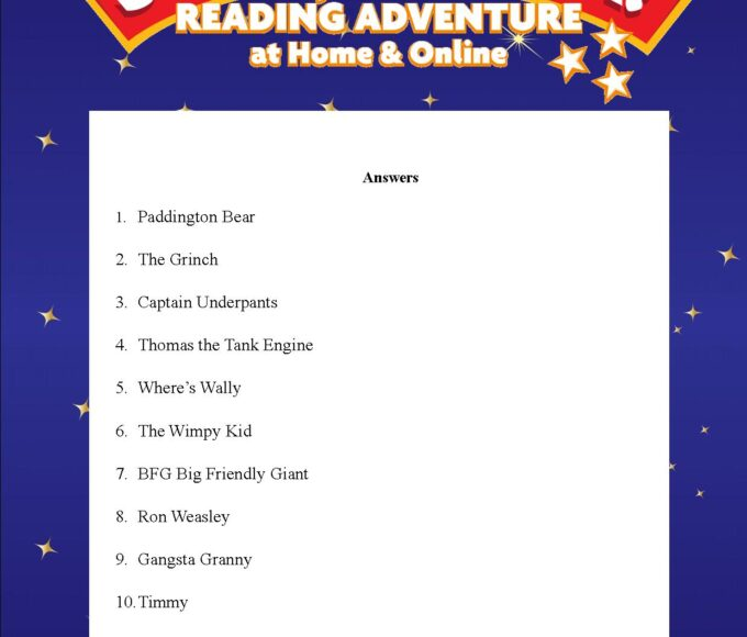 Thurles Library's Summer Stars Quiz: Week 1 Answers
