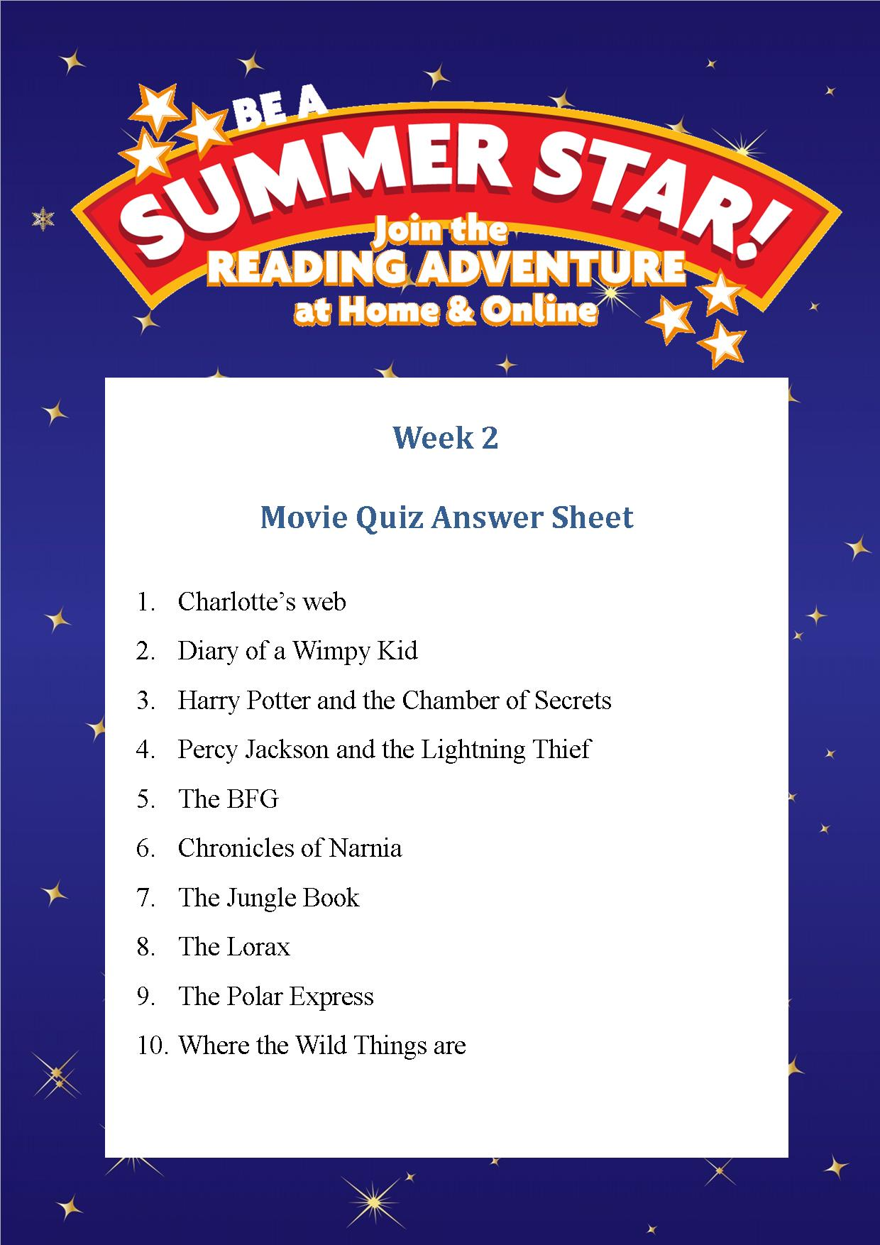 Thurles Library's Summer Stars Quiz – Week 2 Answers